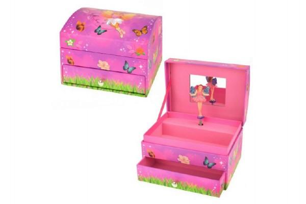 Hrací skříňka šperkovnice víla 14x10x10cm