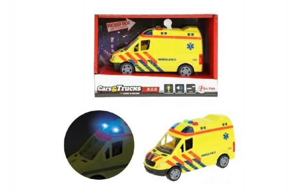 Auto ambulance plast 15cm na baterie se světlem se zvukem v krabici 19x12x9cm