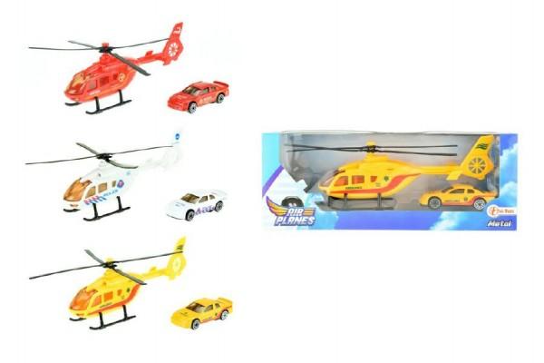 Helikoptéra s autem kov/plast 20cm asst 3 barvy v krabičce 25x10x5cm