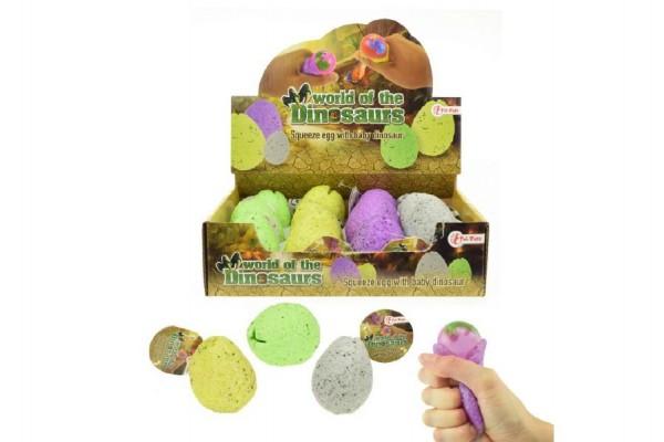 Vejce gumové mačkací sliz s dinosaurem antistresový 4 druhy 12 ks v boxu