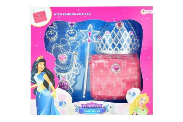 Sada krásy princezna korunka+kabelka+doplňky plast v krabici 31x28x6cm