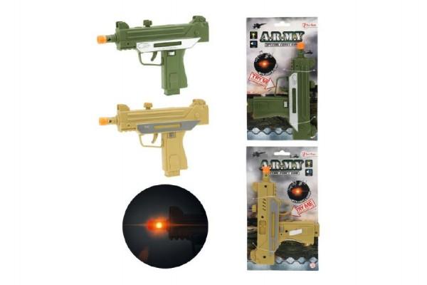 Pistole samopal plast 17cm na baterie se zvukem se světlem asst 2 barvy na kartě