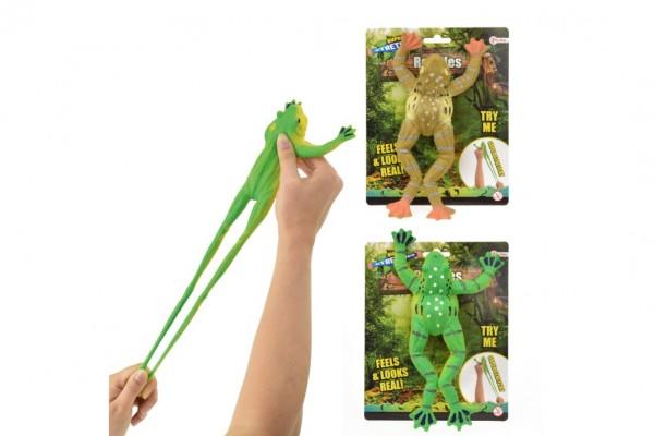 Žába vystřelovací gumová 20cm asst 2 barvy na kartě