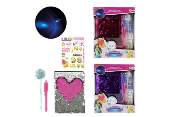 Sada diář blok + doplňky pro princezny 27cm na baterie se světlem asst 2 barvy v krabici 22x27x5cm