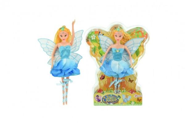 Panenka víla s křídly modré šaty plast 30cm v blistru