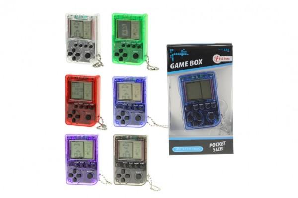 Přívěšek digitální hra Brick Game Tetris plast 5cm na baterie asst v krabičce 6x11x2cm