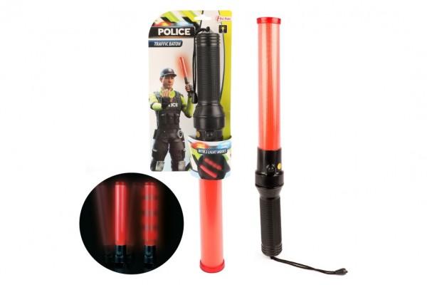 Obušek policejní svítící plast 41cm na baterie na kartě