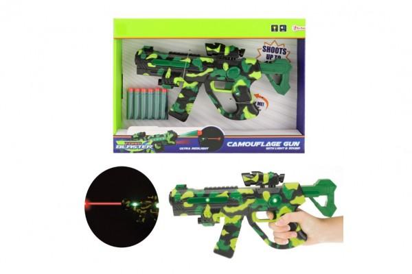 Pistole na pěnové náboje se zaměřovačem plast 32cm na bat. se světlem a se zvukem v krabici 38x27x5