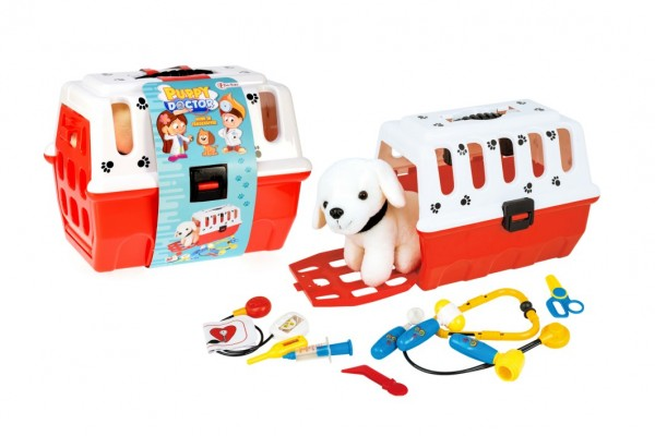 Zvířátko pejsek plyš v přenosném boxu 26cm plast + doktorská sada veterinář v sáčku