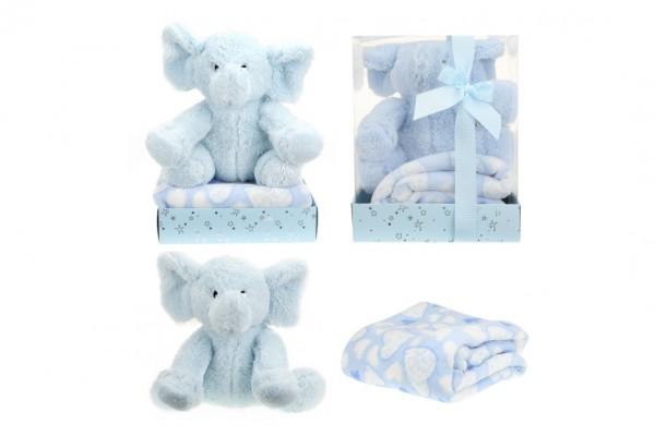 Sada slon plyš + deka modrý v blistru 20x26x18cm
