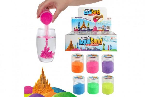 Kouzelný vodní písek tvořivá tvarovací hmota sliz 6 barev v plast.dóze 5,5x7,5cm 12ks v boxu