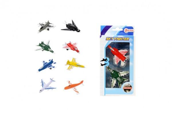 Letadla/stíhačka 2ks kov/plast 7cm asst 4 druhy v krabičce 10x19x3cm