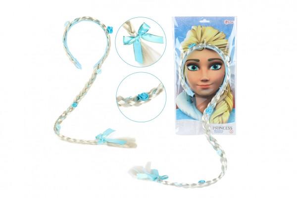 Sada krásy čelenka s copem 90cm Ledová princezna na kartě 35x18cmv sáčku karneval