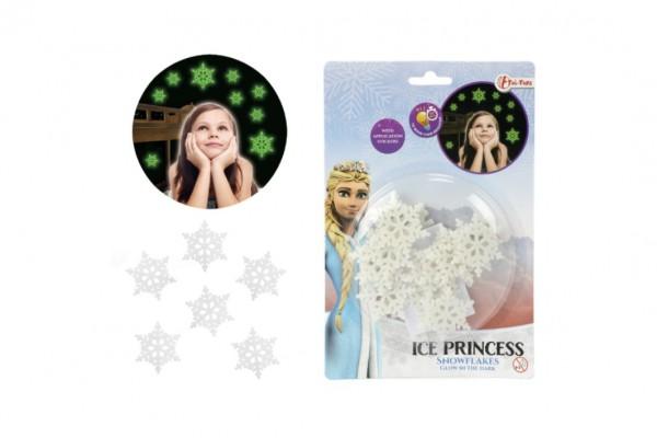 Sněhové vločky svítící ve tmě plast Ledové království na kartě