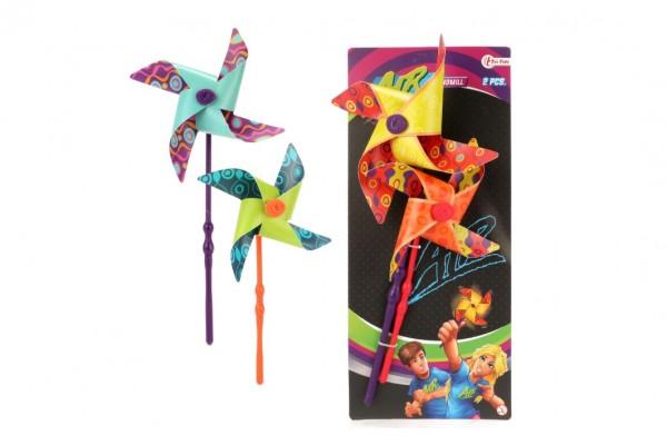Větrník 2ks barevný plast průměr 18cm 2 barvy na kartě