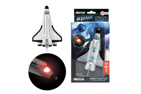 Raketoplán kov/plast 15cm na zpětný chod na baterie se světlem se zvukem v krabičce 11,5x22,5x6cm