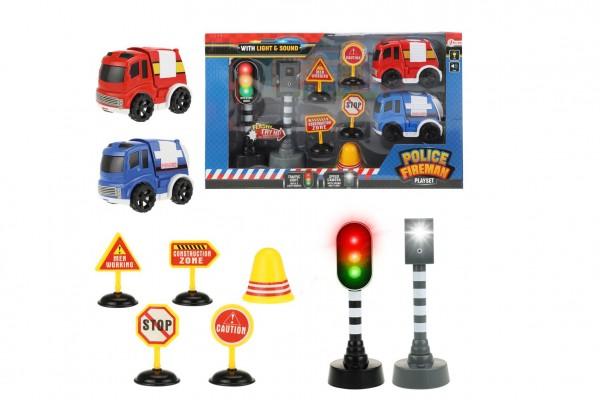 Auto 2ks policie,hasiči+semafor,radar,značky plast na bat. se zvukem se světlem v krab. 38x22,5x7cm