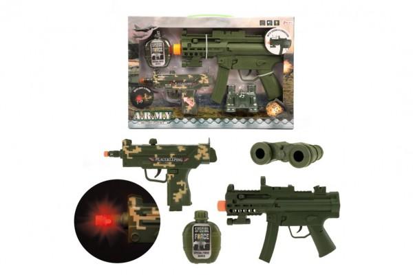 Sada pistole 2ks + doplňky plast na baterie se zvukem se světlem v krabici 41x27,5x5cm