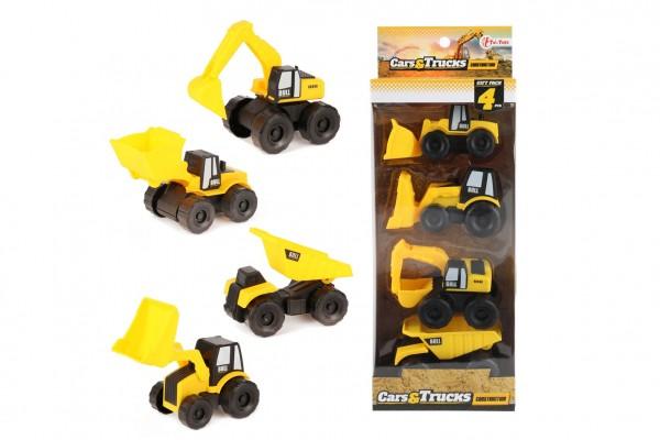 Auto stavební 4ks plast 10cm v krabici 12,5x34x6cm