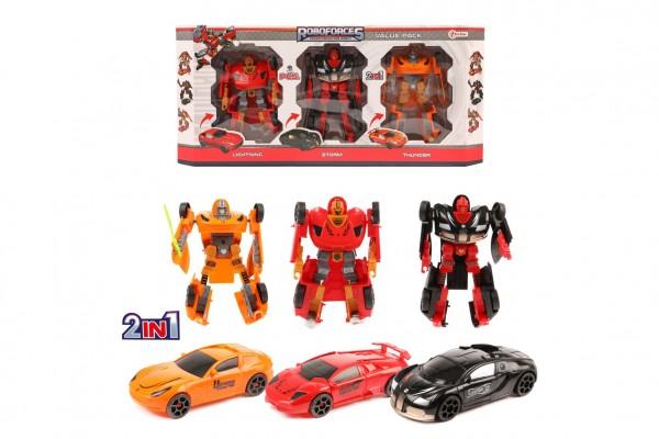 Transformer auto/robot 3ks plast 15cm v krabici 48x22x6cm