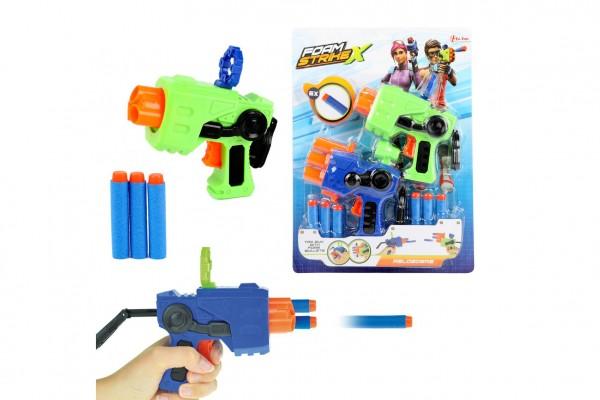 Pistole 2 ks plast 13cm + pěnové náboje 6 ks na kartě