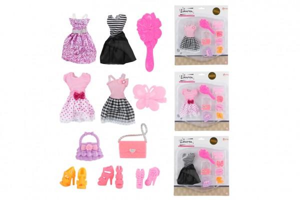 Sada krásy šaty/oblečky na panenky s doplňky 4 druhy na kartě 24x27cm