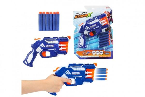 Pistole na pěnové náboje 25cm plast + náboje 6ks na kartě