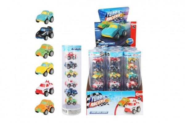 Sada auta mini 6ks plast 5cm na zpětné natažení mix druhů v blistru/pl. tubus 12ks v boxu