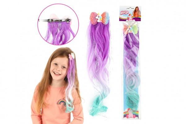 Spona do vlasů kov/plast s jednorožecem s duhovým příčeskem 32cm mix barev v sáčku 16x48cm