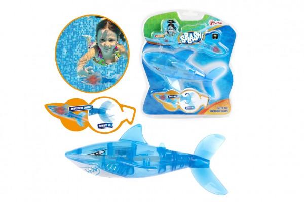 Žralok na natažení plast 10cm na potápění na baterie se světlem v blistru