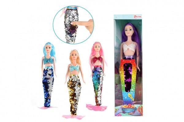 Panenka mořská panna plast 30cm s měnícími se šaty 4 druhy v krabičce 9x33x5cm