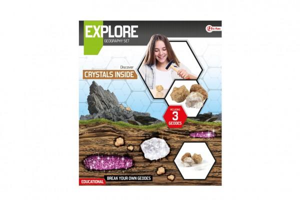 Sada geodů/kamenů vědecká hra s lupou v krabici 27x31x7cm