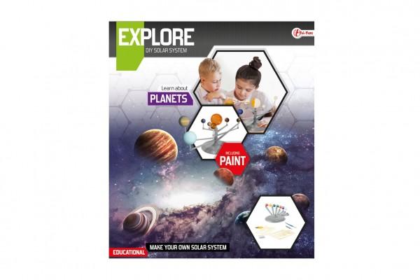 Planety sluneční soustavy vědecká hra s barvami v krabici 27x31x5cm