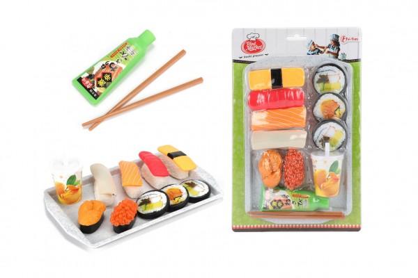 Sada potravin sushi plast s prkénkem s doplňky na kartě 18x29x5cm