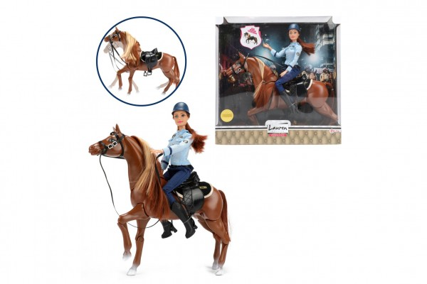 Panenka policistka kloubová 30cm na koni se sedlem plast v krabici 34x35x10cm