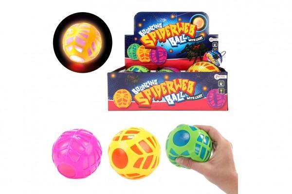 Míček s pavučinou antistresový skákací gumový 10cm na baterie se světlem  3 barvy v síťce 6ks v boxu