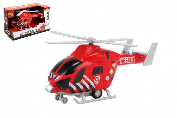 Vrtulník hasiči 20cm plast na setrvačník na baterie se světlem se zvukem v krabici 23x13x10cm