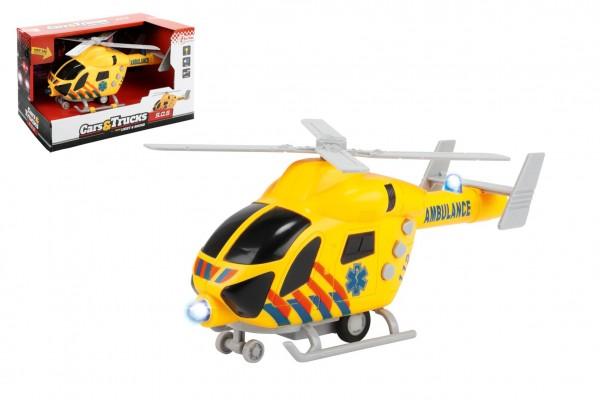 Vrtulník záchranáři 20cm plast na setrvačník na baterie se světlem se zvukem v krabici 23x13x10cm