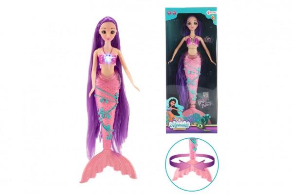 Mořská panna s dlouhými vlasy plast 33 cm na baterie se zvukem se světlem v krabici 15x37x5cm