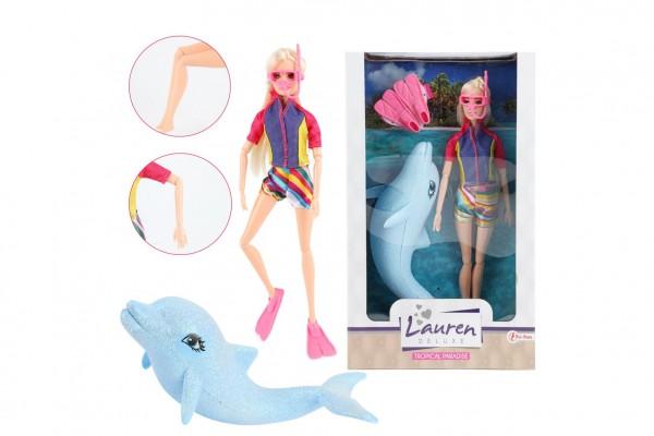 Panenka potápěčka kloubová plast 30 cm s delfínem a doplňky v krabici
