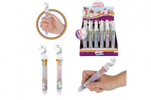 Tužka/pero jednorožec 10 barev 15 cm plast 2 barvy 36ks v boxu