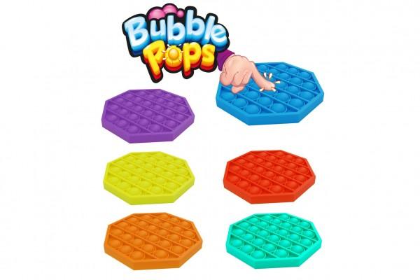 Bubble pops - Praskající bubliny silikon antistresová spol. hra  6 barev 12,5x12,5cm v sáčku