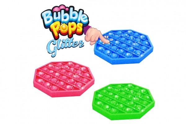 Bubble pops - Praskající bubliny s glitry silikon antistresová spol. hra 3 barev 12,5x12,5cm v sáčku