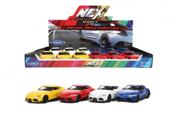 Auto Welly Toyota Supra kov/plast 12cm 4 barvy na zpětné natažení 12ks v boxu