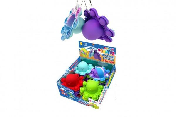 Přívěšek Bubble pops-Praskající bubliny chobotnice silikon antistr. spol. hra 4 barvy 24ks box