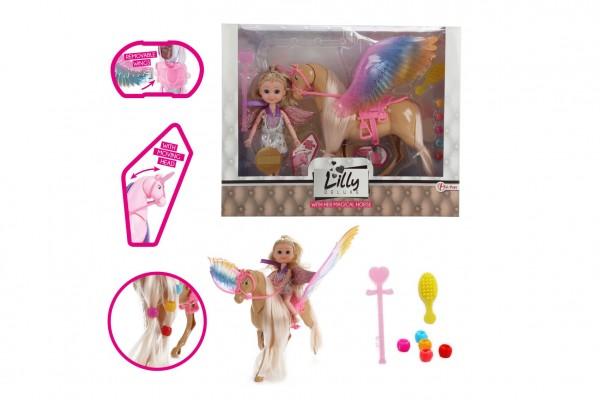 Panenka Lilly s jednorožcem česacím  plast 25cm s křídly s doplňky v krabici 30x24x7cm