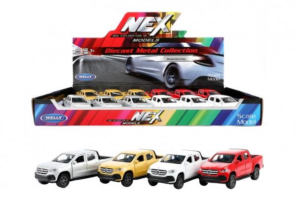 Auto Welly Mercedes-Benz X-Class kov/plast 12cm 4 barvy na zpětné natažení 12ks v boxu