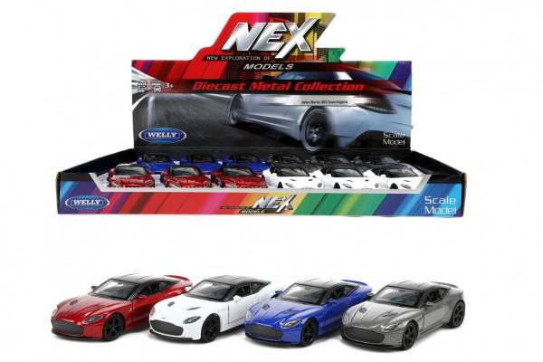 Auto Welly Aston Martin DBS Superleggera kov/plast 12cm 4 barvy na zpětné natažení 12ks v boxu