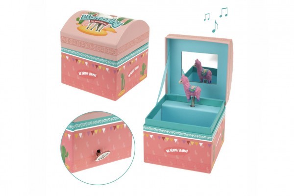 Teddies Hrací skříňka šperkovnice Lama natahovací karton 11x11x10cm ve fólii
