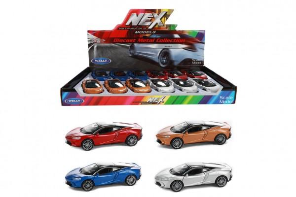 Auto Welly Mclaren GT kov/plast 11cm na zpětné natažení 4 barvy 12 ks v boxu